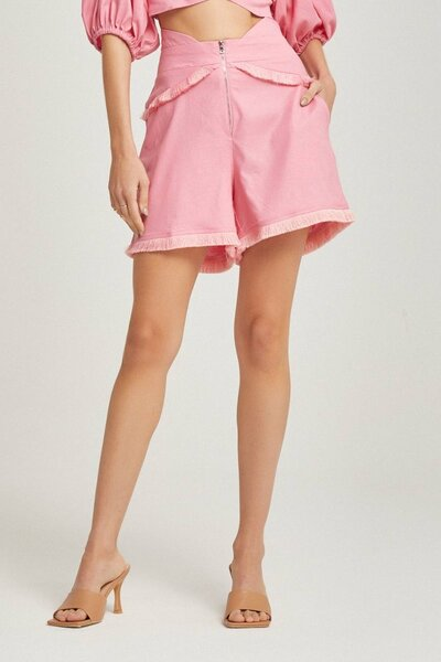 Shorts Cintura Alta com Detalhe de Franja