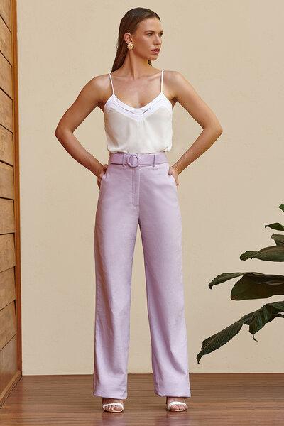 Calça Pantalona De Linho