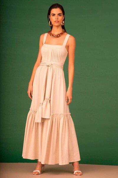 Vestido Longo de Linho com Detalhes em Pregas e Amarração