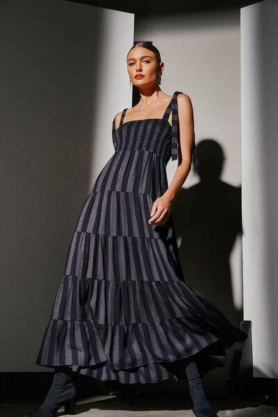 Vestido Silvia Braz Tanzania de Linho Com Lastex No Busto