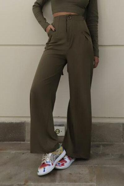 Calça Pantalona Com Nervuras No Cós