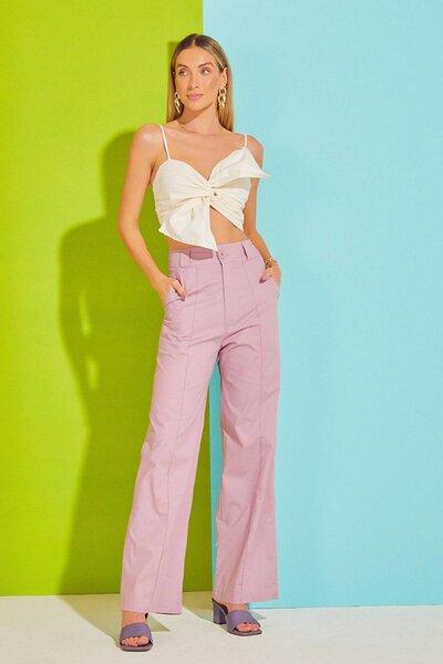 Calça Pantalona de Tricoline com Friso Frontal