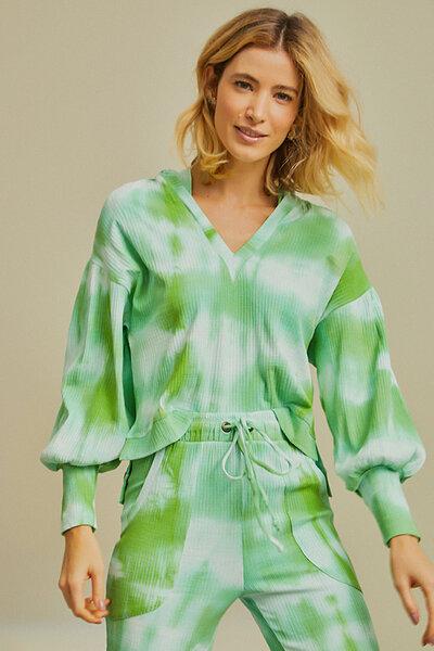 Blusa Canelada Tie Dye com Capuz e Decote V