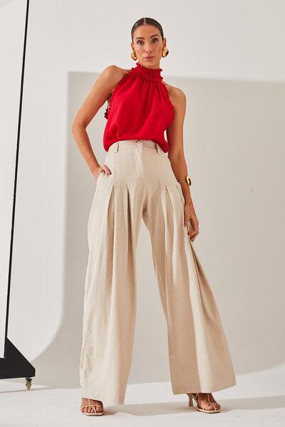 Calça Pantalona Silvia Braz Com Pregas Frente E Botão Forrado