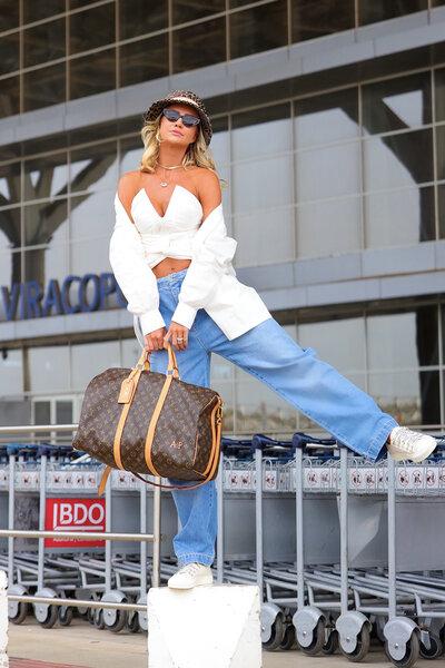 Calça Jeans Baggy com Pregas