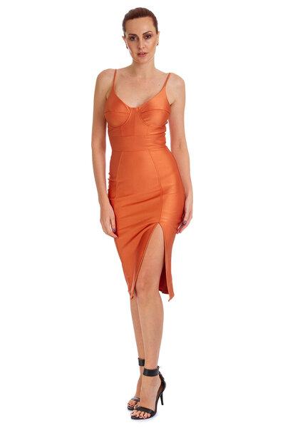 Vestido Mid De Alcinha Recorte No Busto Fenda