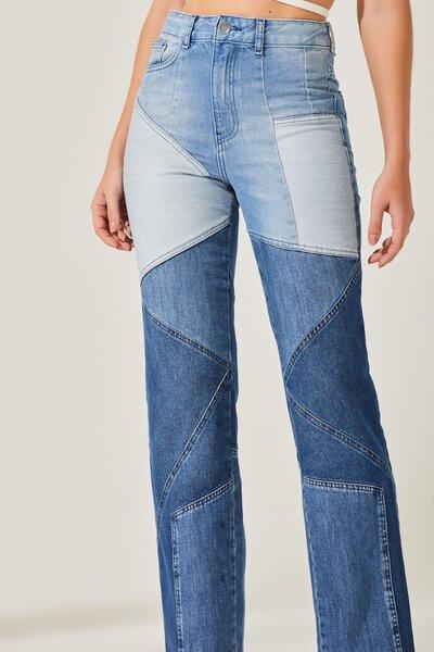 Calça Jeans Mom Patchwork