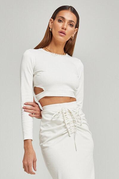 Blusa de malha com Recorte na cintura