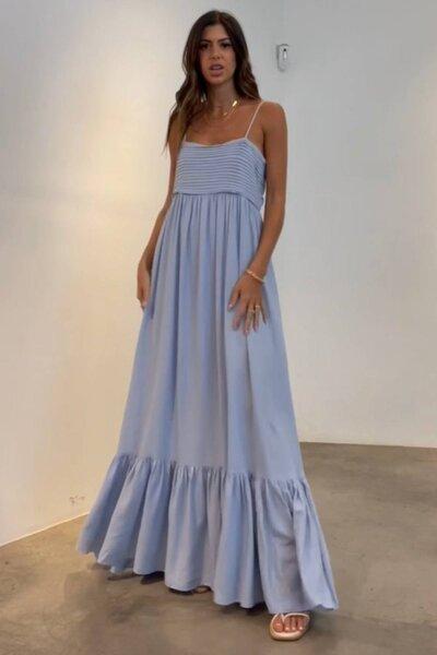 Vestido Silvia Braz com Decote Reto Plissado