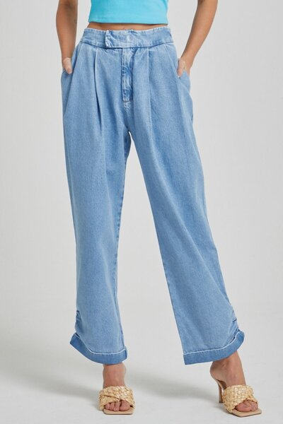 Calca Jeans Baggy com Elástico