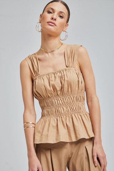 Blusa de Linho com alças largas e lastex