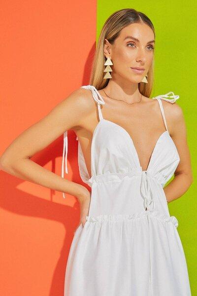 Vestido Silvia Braz Longo em cotton Pré Venda