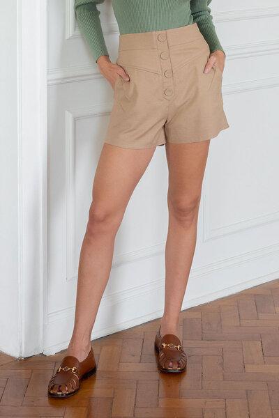 Shorts Botão Forrado Frente