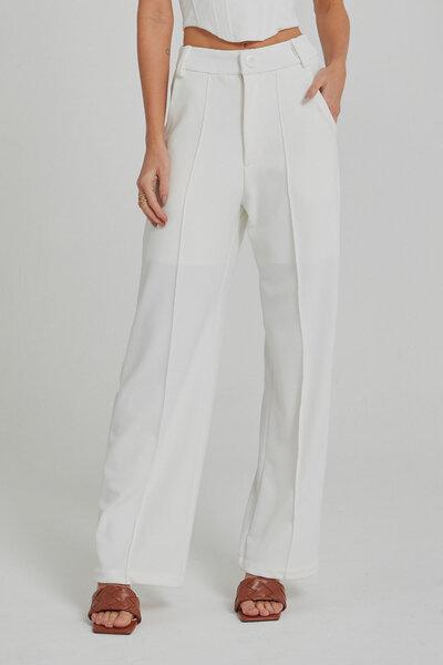 Calça Pantalona Com Frisos