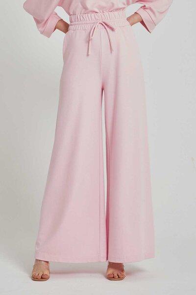 Calça de malha com amarração na cintura