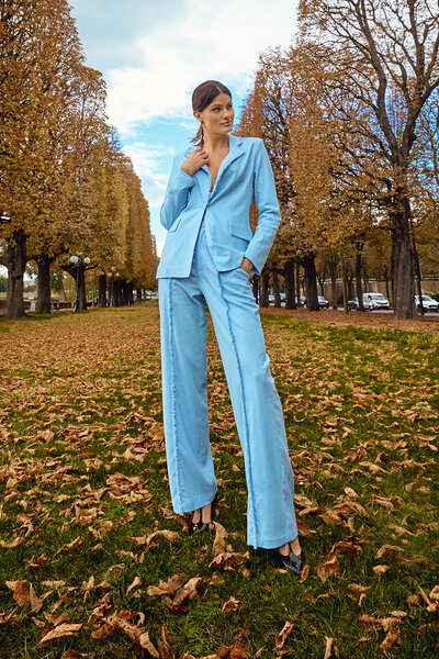 Calça Pantalona com Franja