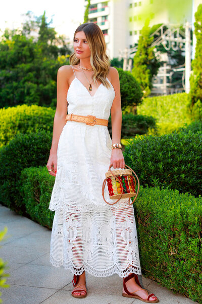 Vestido Lala Rudge de Alças Finas em Renda- Off