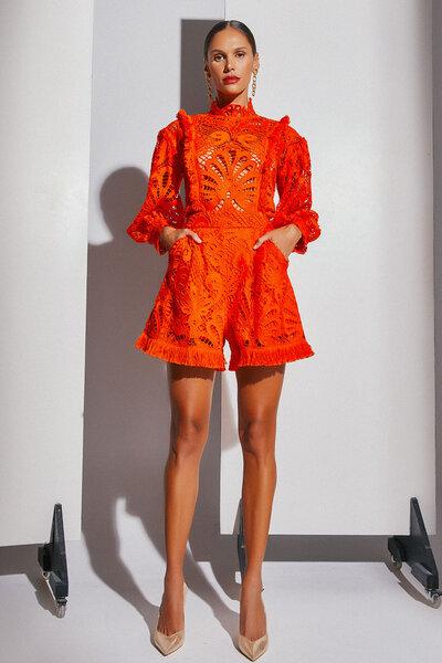 Shorts De Renda Com Franja