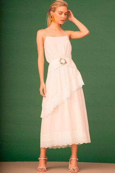 Vestido Midi com Bordado Manual e Fivela