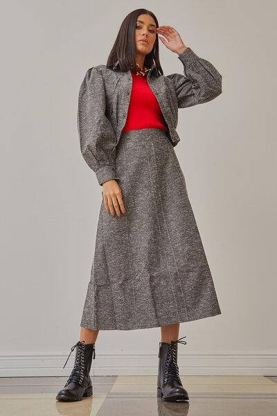 Saia Midi Tweed com Pala Larga