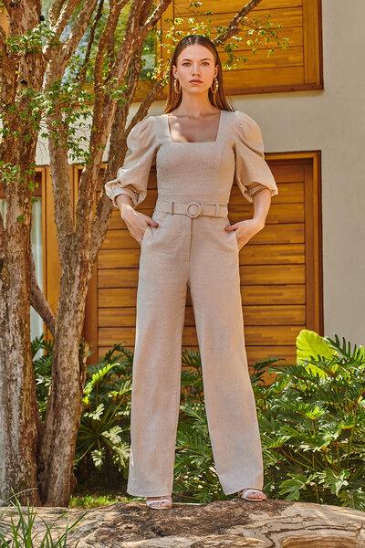 Calça Alfaiataria Pantalona De Linho