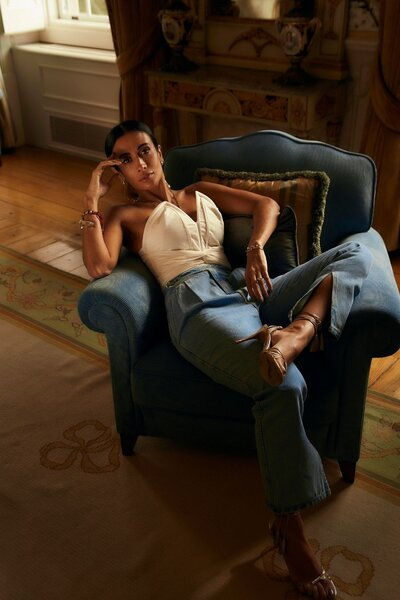 Calca Jeans Silvia Braz Baggy com Botão Lateral Pré-Venda