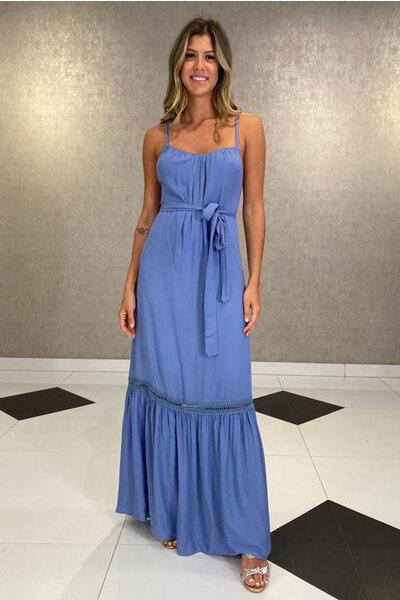 Vestido Decote Com Elástico De Alças Finas
