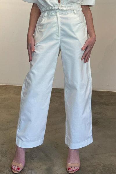 Calça de sarja clochart cós elástico reta
